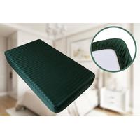 Простынь на резинке Страйп Сатин Point Art - Зеленая 200*200+25 см