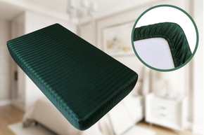 Простынь на резинке Страйп Сатин Point Art - Зеленая 140*200+25 см