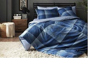 Постельное белье Тас сатин Digital - Tess синий семейное