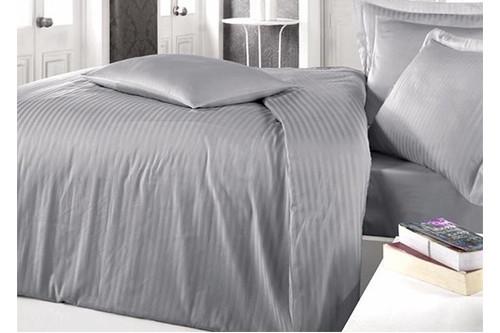 Комплект постельного белья Clasy Butik Stripe - Gri сатин евро