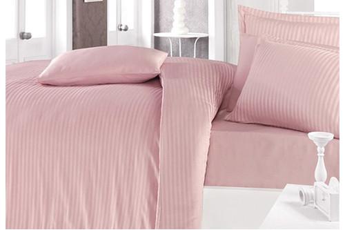 Комплект постельного белья Clasy Butik Stripe - Pudra сатин евро