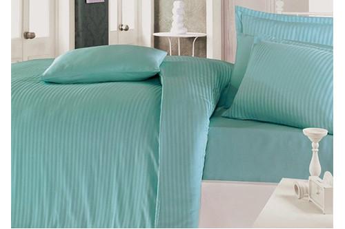 Комплект постельного белья Clasy Butik Stripe - Turkuaz сатин евро